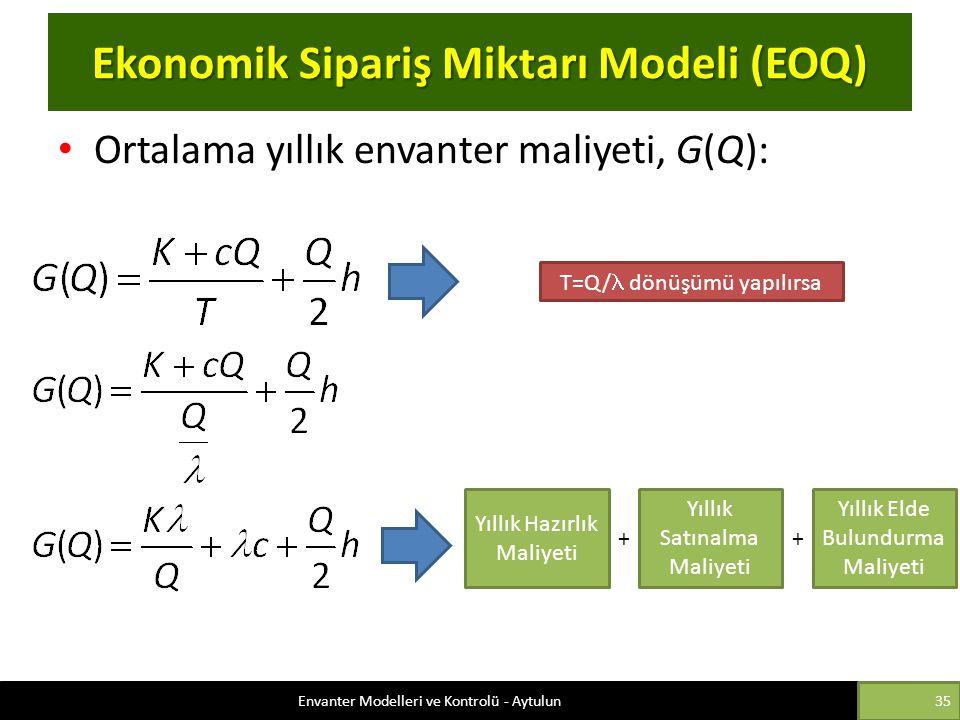 Ekonomik Sipariş Miktarı Modeli (EOQ) Ortalama yıllık envanter maliyeti, G(Q): T=Q/ dönüşümü yapılırsa Yıllık Hazırlık Maliyeti Yıllık Satınalma Maliy