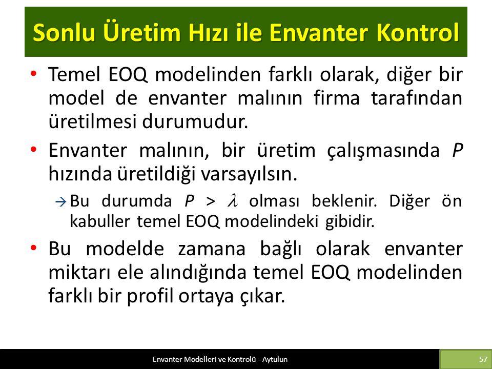 Sonlu Üretim Hızı ile Envanter Kontrol Temel EOQ modelinden farklı olarak, diğer bir model de envanter malının firma tarafından üretilmesi durumudur.