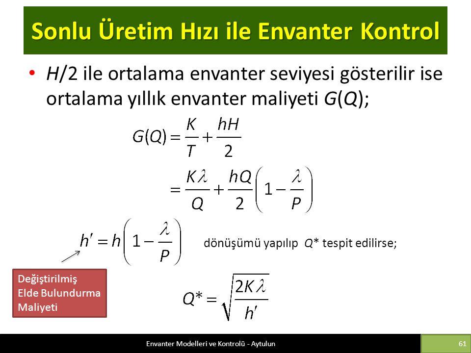 Sonlu Üretim Hızı ile Envanter Kontrol H/2 ile ortalama envanter seviyesi gösterilir ise ortalama yıllık envanter maliyeti G(Q); dönüşümü yapılıp Q* t