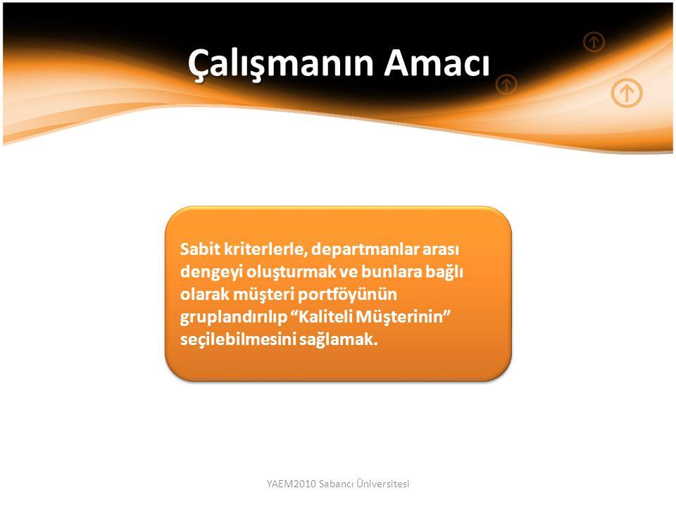 YAEM2010 Sabancı Üniversitesi Sabit kriterlerle, departmanlar arası dengeyi oluşturmak ve bunlara bağlı olarak müşteri portföyünün gruplandırılıp Kaliteli Müşterinin seçilebilmesini sağlamak.
