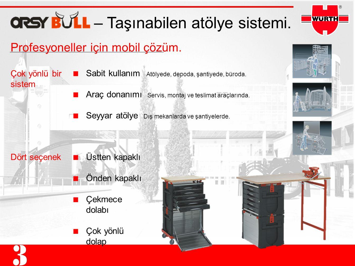 – Taşınabilen atölye sistemi. Sabit kullanım Atölyede, depoda, şantiyede, büroda. Araç donanımı Servis, montaj ve teslimat araçlarında. Seyyar atölye