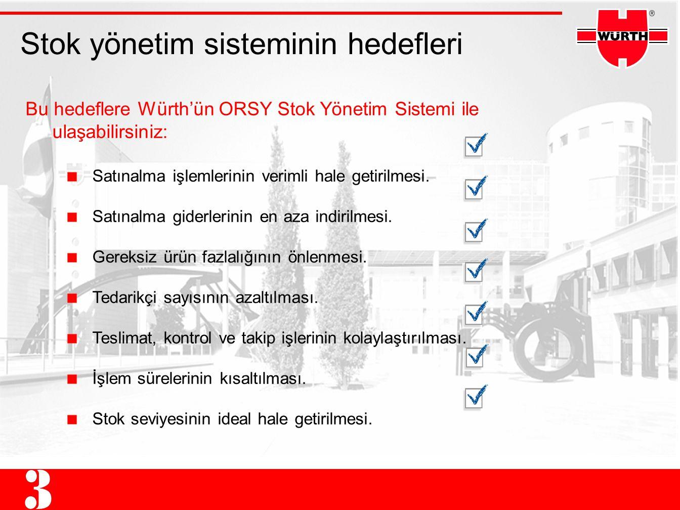 Stok yönetim sisteminin hedefleri Bu hedeflere Würth'ün ORSY Stok Yönetim Sistemi ile ulaşabilirsiniz: Satınalma işlemlerinin verimli hale getirilmesi.
