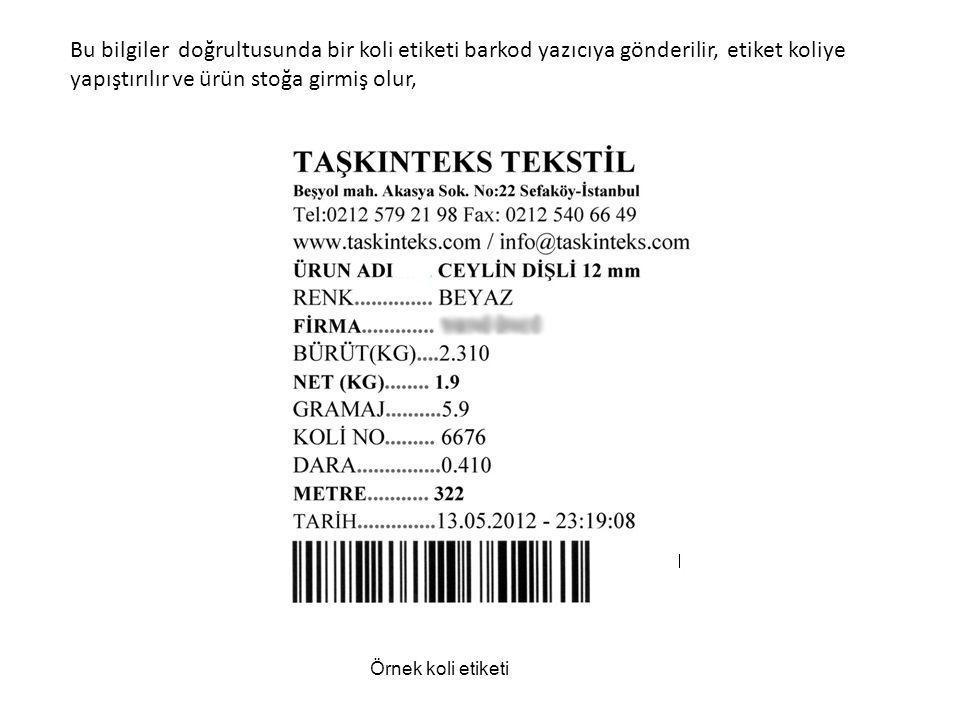 Bu bilgiler doğrultusunda bir koli etiketi barkod yazıcıya gönderilir, etiket koliye yapıştırılır ve ürün stoğa girmiş olur, Örnek koli etiketi