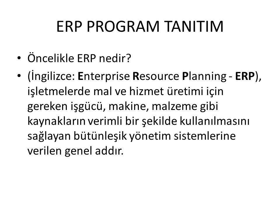ERP PROGRAM TANITIM Öncelikle ERP nedir? (İngilizce: Enterprise Resource Planning - ERP), işletmelerde mal ve hizmet üretimi için gereken işgücü, maki