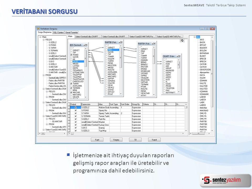 VERİTABANI SORGUSU İşletmenize ait ihtiyaç duyulan raporları gelişmiş rapor araçları ile üretebilir ve programınıza dahil edebilirsiniz. SentezWEAVE T