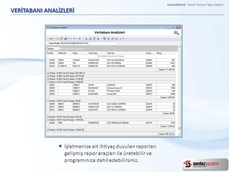 VERİTABANI ANALİZLERİ İşletmenize ait ihtiyaç duyulan raporları gelişmiş rapor araçları ile üretebilir ve programınıza dahil edebilirsiniz. SentezWEAV