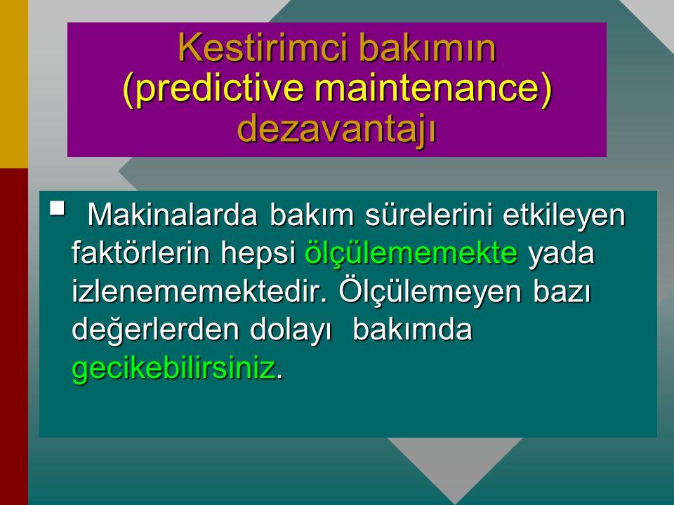 Kestirimci bakım (predictive maintenance)  Periyodik bakımın dezavantajlarını ortadan kaldıracak şekilde ortaya konulmuş bir sistemdir. Bir sistem da