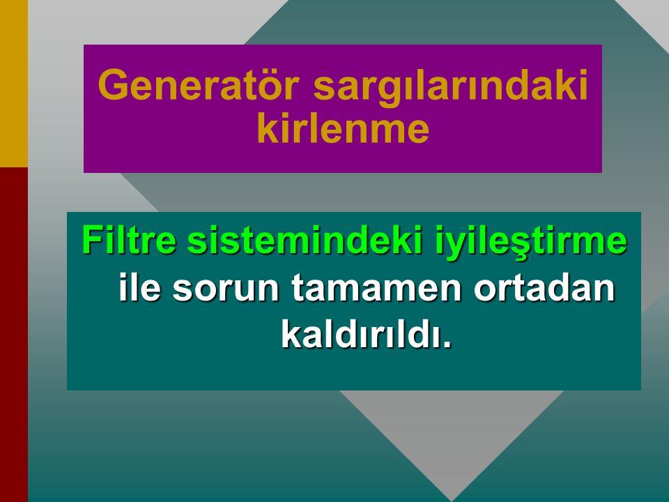 Erdemir'de yapılan bakımlar Generatör bakımları  İlk 1 yıl içerisinde, yapılan ölçümler sonucunda generatör sargılarındaki kirlenmeden dolayı izolasy