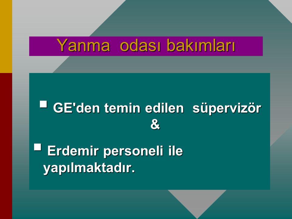 Yanma odası bakımları  Erdemir'de 2 adet MS 6001B gaz türbini bulunmaktadır. 1 nolu gaz türbini  1. bakım 11 000 saatte yapılmıştır.  2. bakım 21 0
