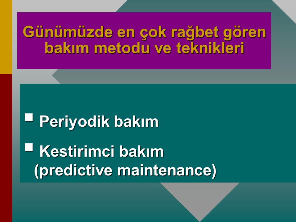 Bakımda dikkate alınacak parametreler şunlardır: 1. Maksimum güvenilirlilik 2. Minimum bakım süresi, 3. Minimum stok, 4. Minimum yedek parça 5. Minimu