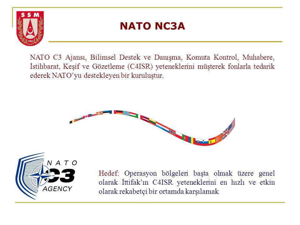 NATO NC3A NATO C3 Ajansı, Bilimsel Destek ve Danışma, Komuta Kontrol, Muhabere, İstihbarat, Keşif ve Gözetleme (C4ISR) yeteneklerini müşterek fonlarla