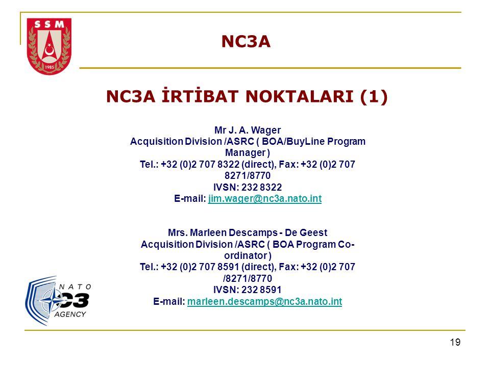 19 NC3A NC3A İRTİBAT NOKTALARI (1) Mr J. A. Wager Acquisition Division /ASRC ( BOA/BuyLine Program Manager ) Tel.: +32 (0)2 707 8322 (direct), Fax: +3