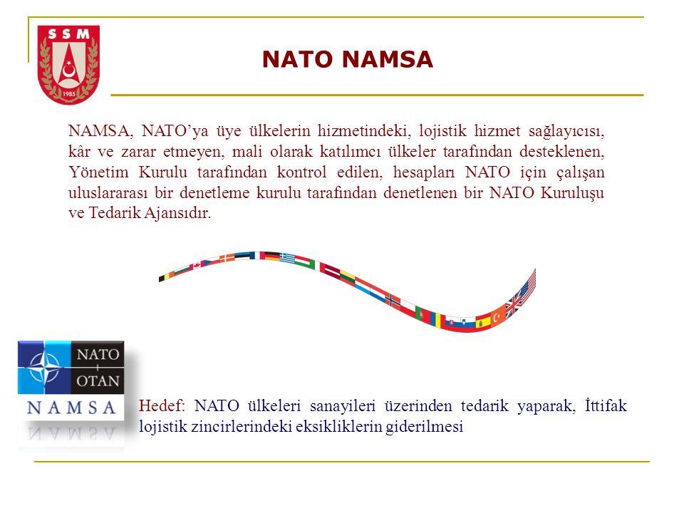 NATO NAMSA NAMSA, NATO'ya üye ülkelerin hizmetindeki, lojistik hizmet sağlayıcısı, kâr ve zarar etmeyen, mali olarak katılımcı ülkeler tarafından dest