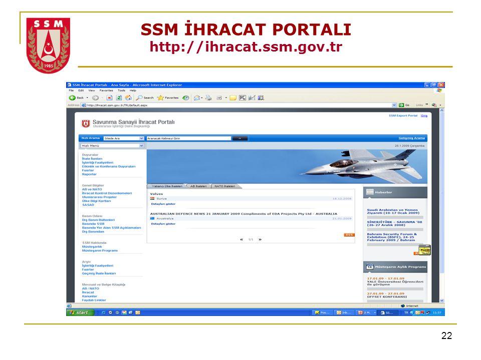 22 SSM İHRACAT PORTALI http://ihracat.ssm.gov.tr