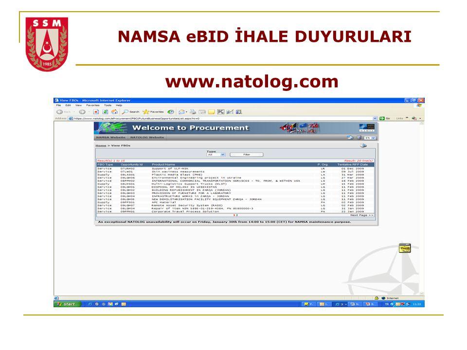 NAMSA eBID İHALE DUYURULARI www.natolog.com