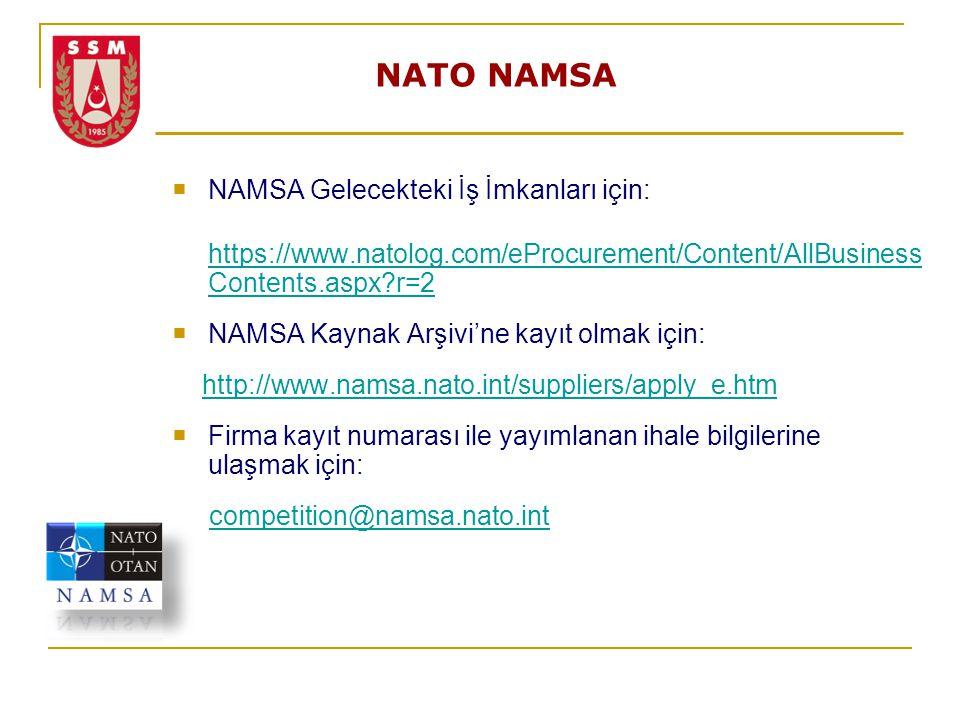 NATO NAMSA  NAMSA Gelecekteki İş İmkanları için: https://www.natolog.com/eProcurement/Content/AllBusiness Contents.aspx?r=2  NAMSA Kaynak Arşivi'ne