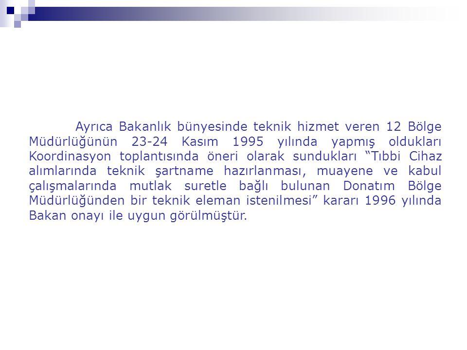 Ayrıca Bakanlık bünyesinde teknik hizmet veren 12 Bölge Müdürlüğünün 23-24 Kasım 1995 yılında yapmış oldukları Koordinasyon toplantısında öneri olarak