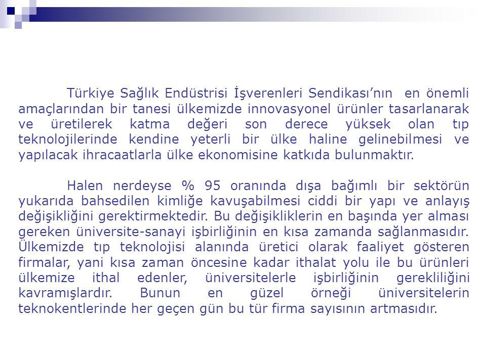 Türkiye Sağlık Endüstrisi İşverenleri Sendikası'nın en önemli amaçlarından bir tanesi ülkemizde innovasyonel ürünler tasarlanarak ve üretilerek katma