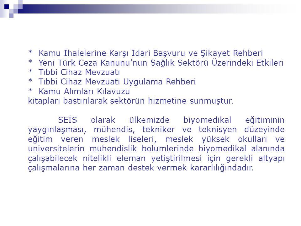 * Kamu İhalelerine Karşı İdari Başvuru ve Şikayet Rehberi * Yeni Türk Ceza Kanunu'nun Sağlık Sektörü Üzerindeki Etkileri * Tıbbi Cihaz Mevzuatı * Tıbb