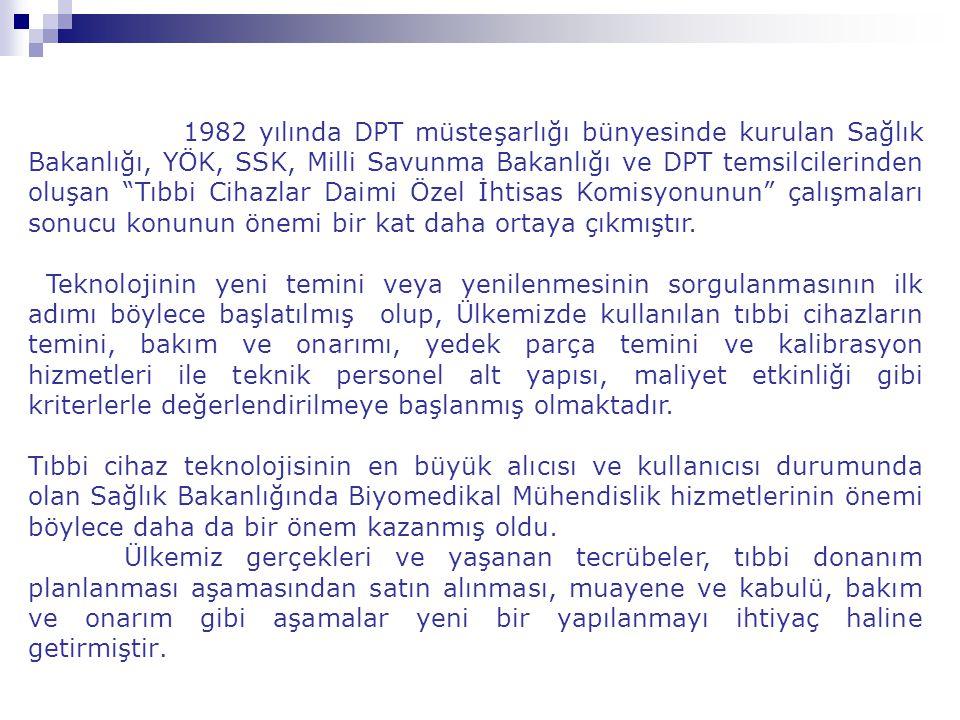 """1982 yılında DPT müsteşarlığı bünyesinde kurulan Sağlık Bakanlığı, YÖK, SSK, Milli Savunma Bakanlığı ve DPT temsilcilerinden oluşan """"Tıbbi Cihazlar Da"""