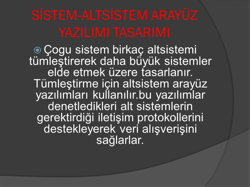 SİSTEM-ALTSİSTEM ARAYÜZ YAZILIMI TASARIMI  Çogu sistem birkaç altsistemi tümleştirerek daha büyük sistemler elde etmek üzere tasarlanır. Tümleştirme
