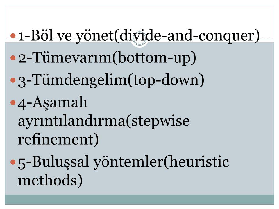 1-Böl ve yönet(divide-and-conquer) 2-Tümevarım(bottom-up) 3-Tümdengelim(top-down) 4-Aşamalı ayrıntılandırma(stepwise refinement) 5-Buluşsal yöntemler(