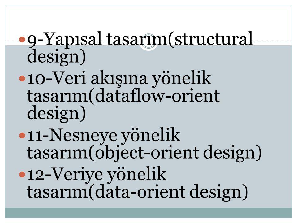 9-Yapısal tasarım(structural design) 10-Veri akışına yönelik tasarım(dataflow-orient design) 11-Nesneye yönelik tasarım(object-orient design) 12-Veriy