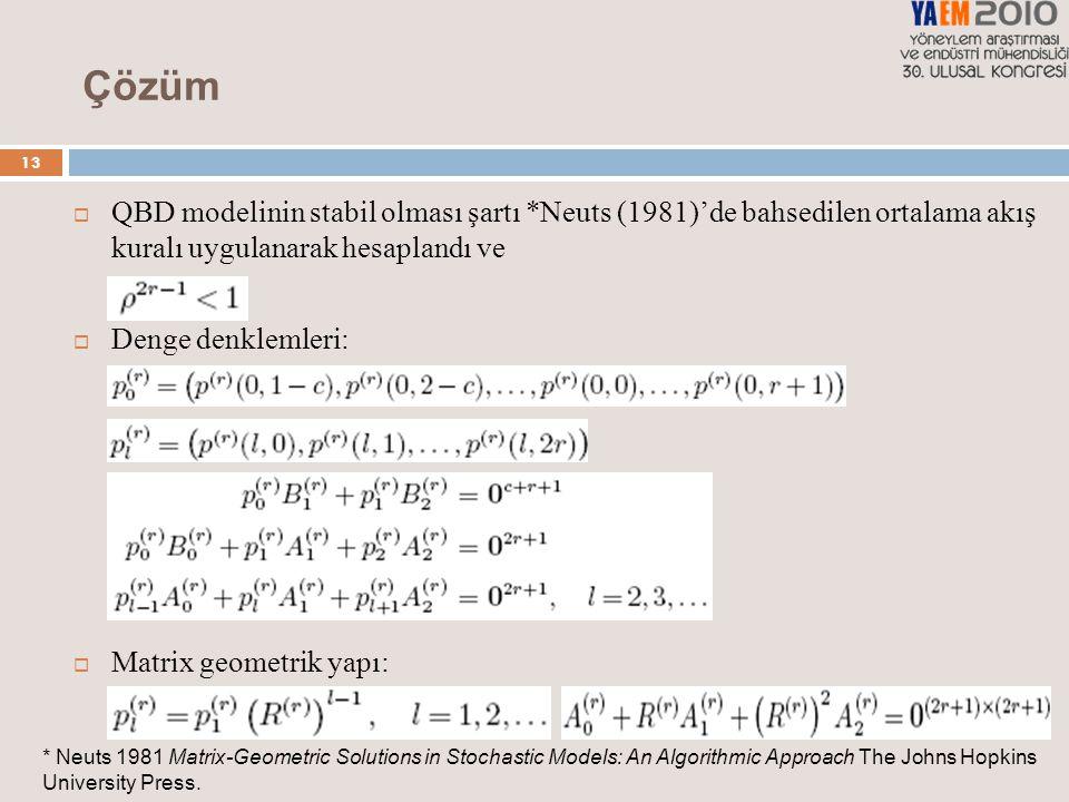 13 Çözüm  QBD modelinin stabil olması şartı *Neuts (1981)'de bahsedilen ortalama akış kuralı uygulanarak hesaplandı ve  Denge denklemleri:  Matrix