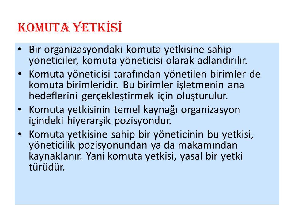 Bir organizasyondaki komuta yetkisine sahip yöneticiler, komuta yöneticisi olarak adlandırılır.