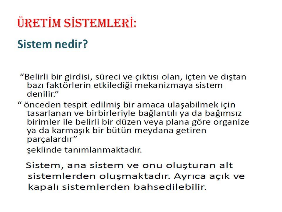 ÜRET İ M S İ STEMLER İ : Sistem nedir?