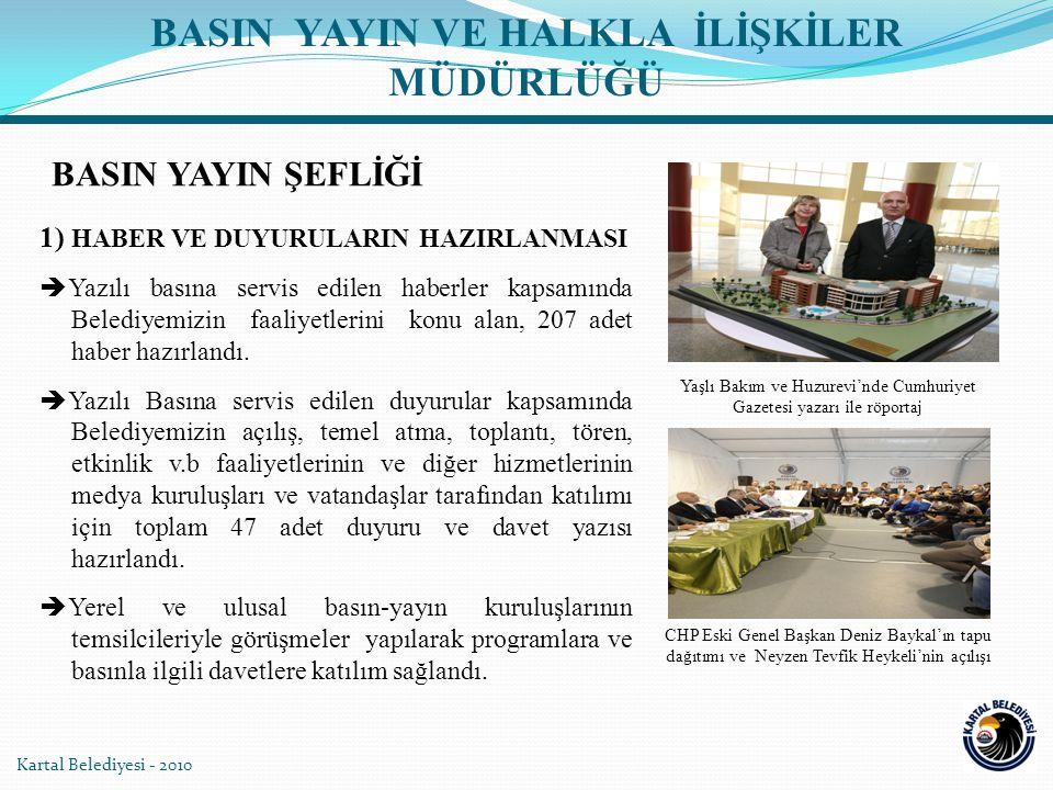 1) HABER VE DUYURULARIN HAZIRLANMASI  Yazılı basına servis edilen haberler kapsamında Belediyemizin faaliyetlerini konu alan, 207 adet haber hazırlan