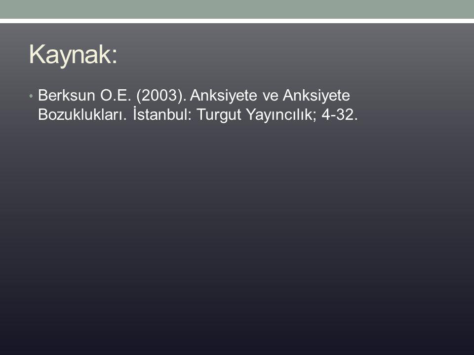 Kaynak: Berksun O.E. (2003). Anksiyete ve Anksiyete Bozuklukları. İstanbul: Turgut Yayıncılık; 4-32.