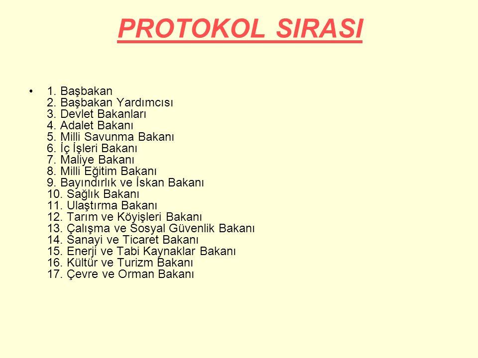 PROTOKOL SIRASI 1.Başbakan 2. Başbakan Yardımcısı 3.