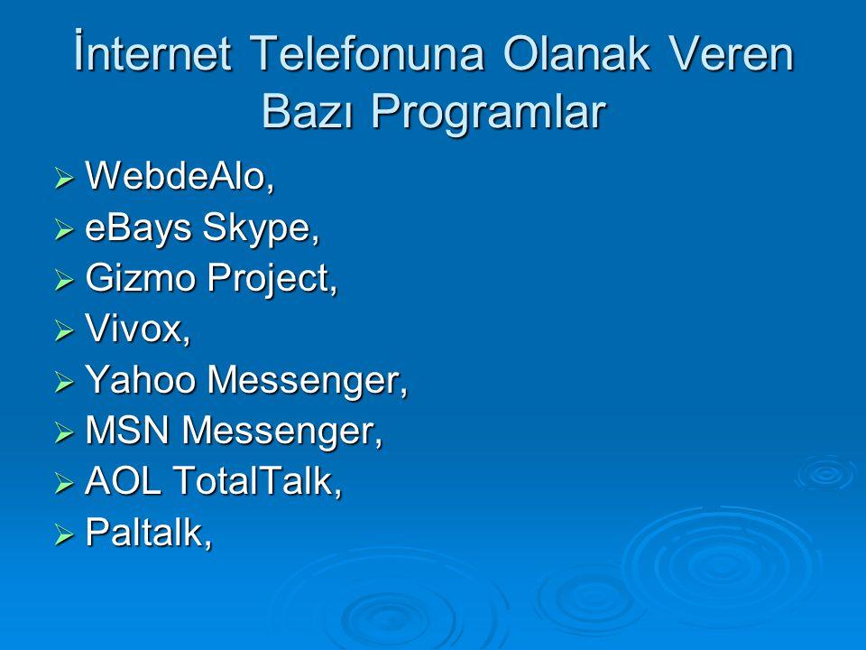 İnternet Telefonuna Olanak Veren Bazı Programlar  WebdeAlo,  eBays Skype,  Gizmo Project,  Vivox,  Yahoo Messenger,  MSN Messenger,  AOL TotalT