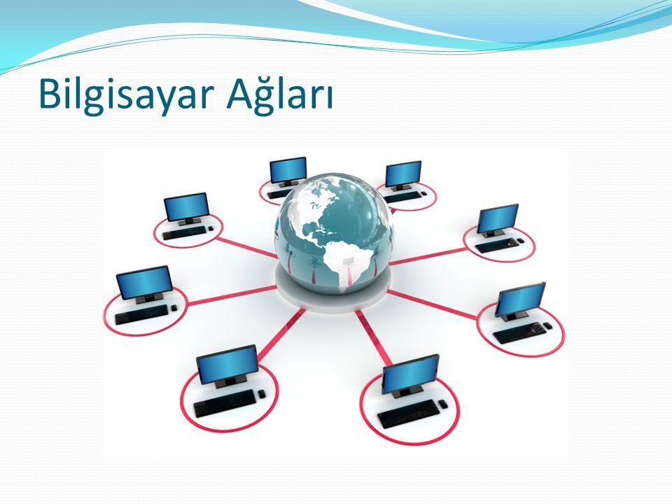 Bilgisayar Ağlarının Amaçları Ağa bağlı tüm bilgisayarlar birbirleri ile iletişim kurabilirler, aynı kaynakları paylaşabilirler.