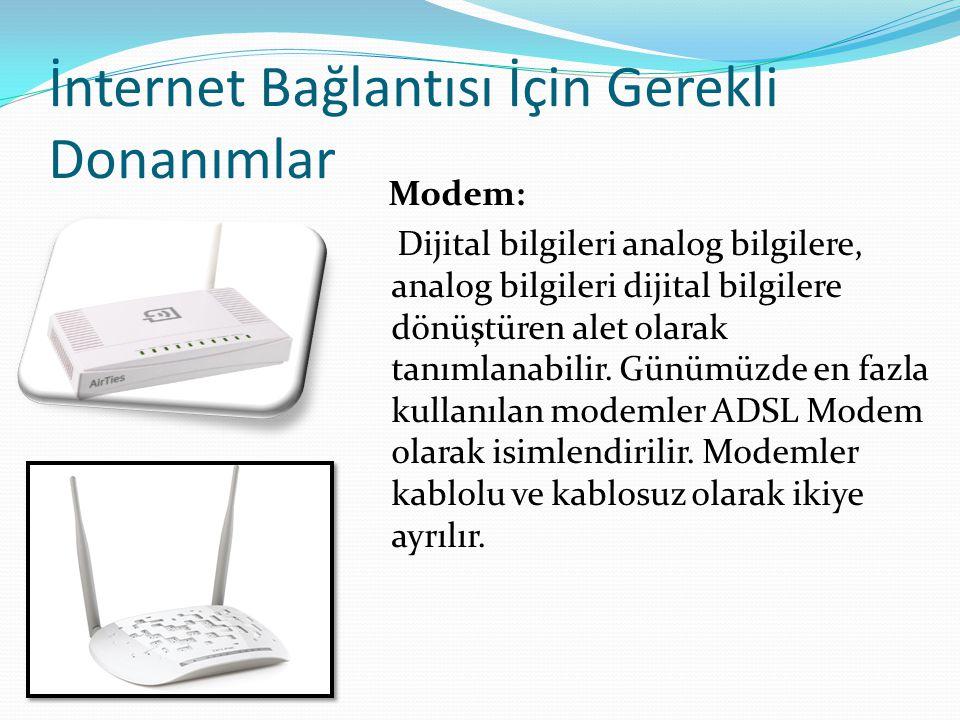 İnternet Bağlantısı İçin Gerekli Donanımlar Kablo: Kablolu modem ve bilgisayar arasındaki bağlantıyı sağlamak amacıyla kullanılır.