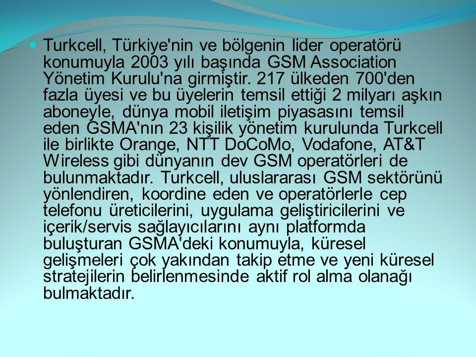 Turkcell, Türkiye'nin ve bölgenin lider operatörü konumuyla 2003 yılı başında GSM Association Yönetim Kurulu'na girmiştir. 217 ülkeden 700'den fazla ü