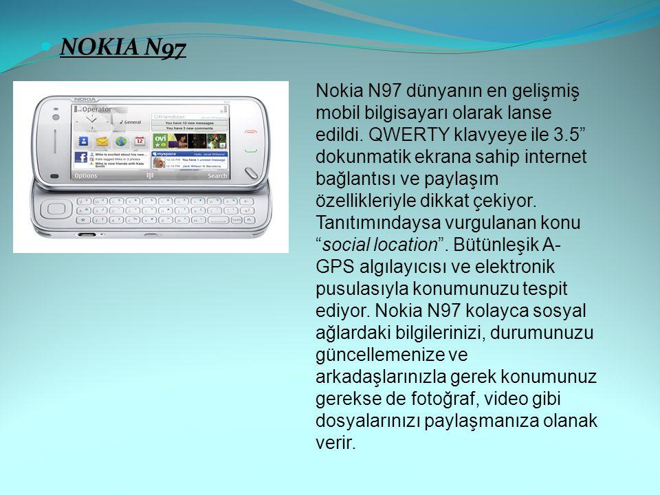 """NOKIA N97 Nokia N97 dünyanın en gelişmiş mobil bilgisayarı olarak lanse edildi. QWERTY klavyeye ile 3.5"""" dokunmatik ekrana sahip internet bağlantısı v"""