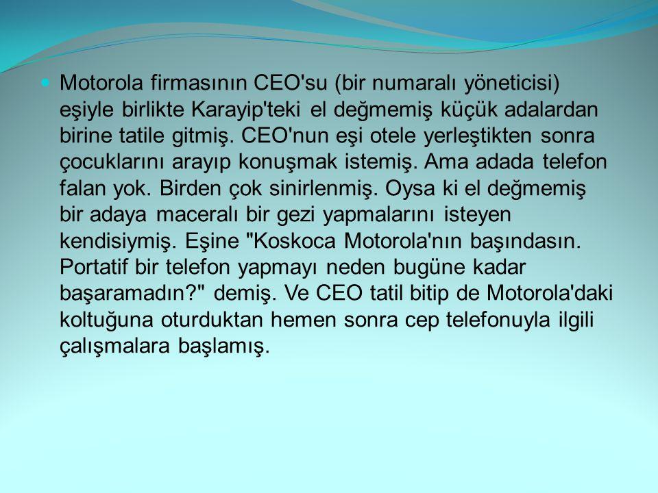 Motorola firmasının CEO'su (bir numaralı yöneticisi) eşiyle birlikte Karayip'teki el değmemiş küçük adalardan birine tatile gitmiş. CEO'nun eşi otele