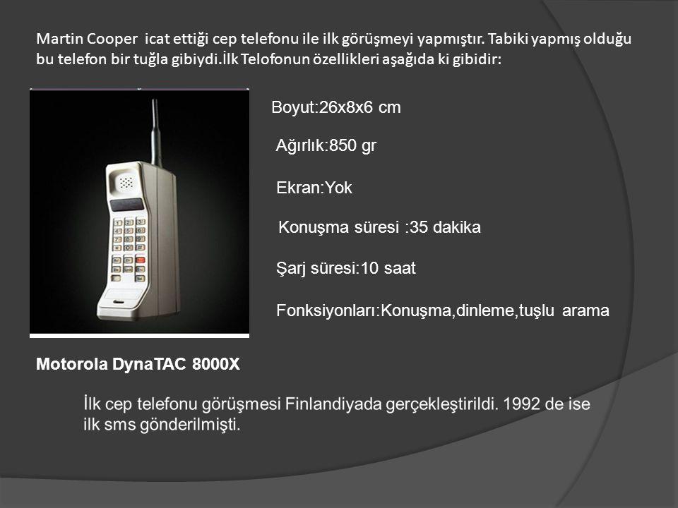 Martin Cooper icat ettiği cep telefonu ile ilk görüşmeyi yapmıştır. Tabiki yapmış olduğu bu telefon bir tuğla gibiydi.İlk Telofonun özellikleri aşağıd