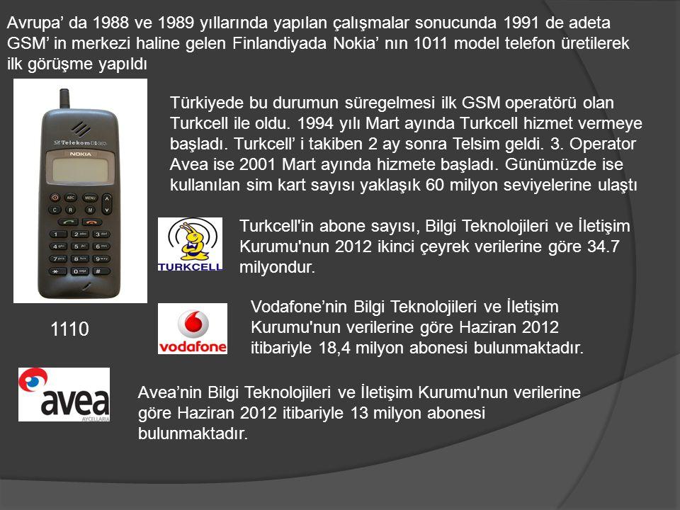 Avrupa' da 1988 ve 1989 yıllarında yapılan çalışmalar sonucunda 1991 de adeta GSM' in merkezi haline gelen Finlandiyada Nokia' nın 1011 model telefon