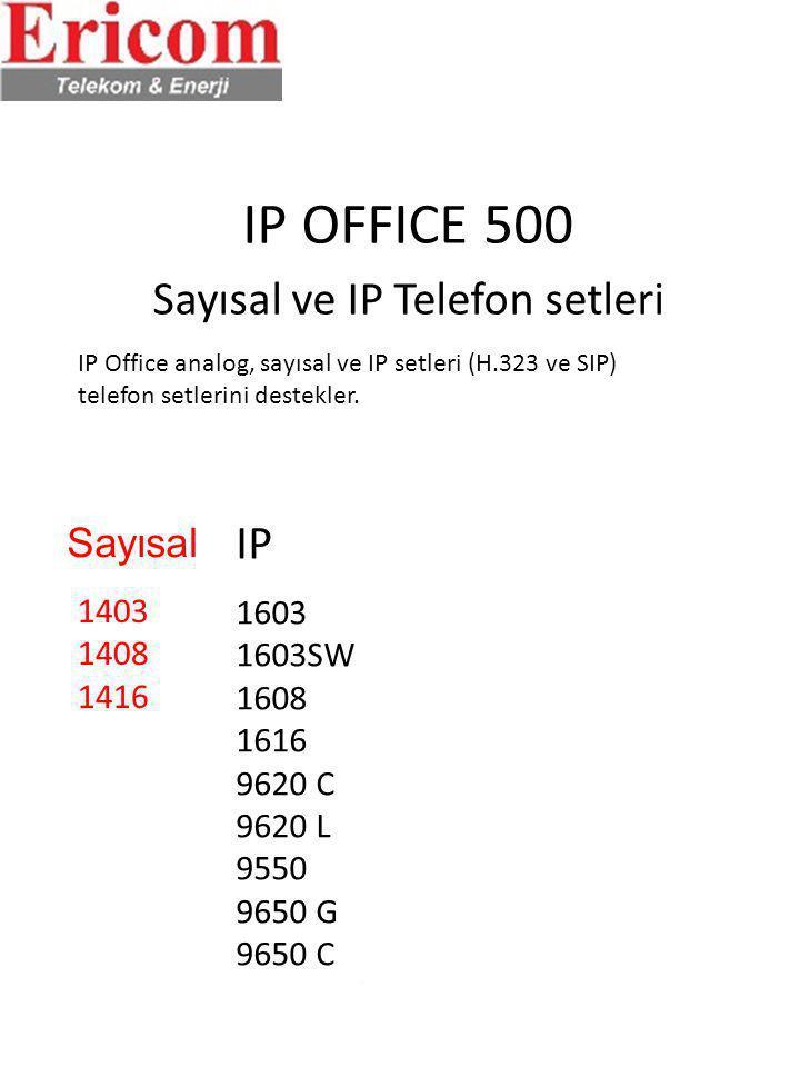 IP OFFICE 500 Sayısal ve IP Telefon setleri IP Office analog, sayısal ve IP setleri (H.323 ve SIP) telefon setlerini destekler. 1403 1408 1416 1603 16