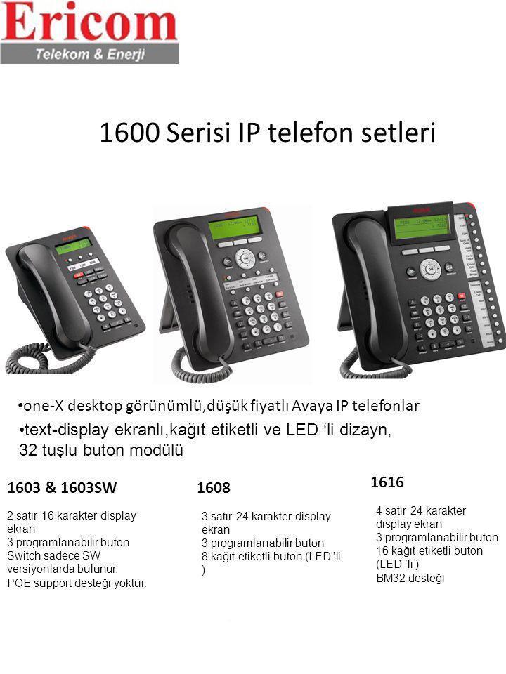 1600 Serisi IP telefon setleri text-display ekranlı,kağıt etiketli ve LED 'li dizayn, 32 tuşlu buton modülü one-X desktop görünümlü,düşük fiyatlı Avay