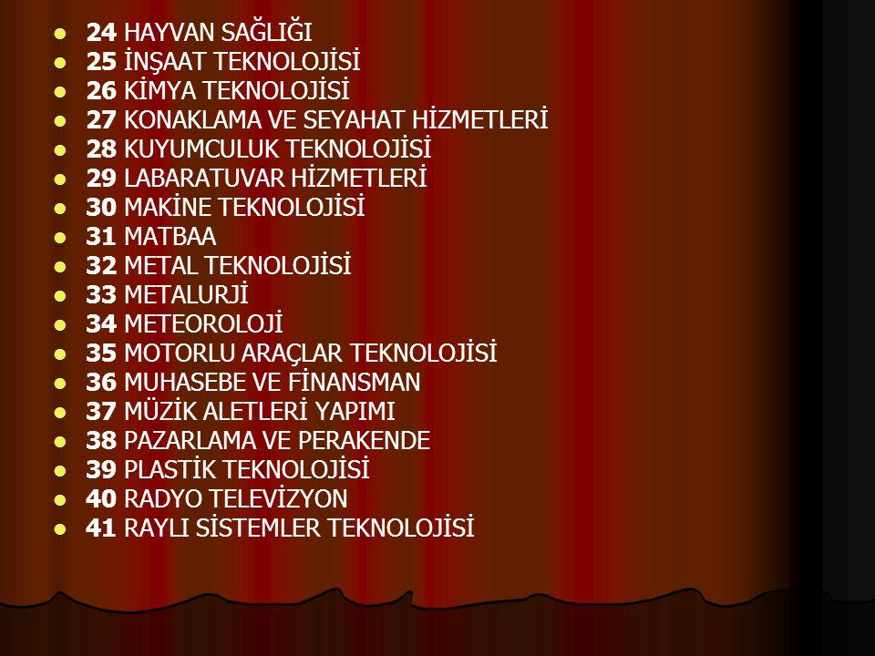 12 EL SANATLARI TEKNOLOJİSİ 13 ELEKTRİK-ELEKTRONİK TEKNOLOJİSİ 14 ENDÜSTRİYEL OTOMASYON TEKNOLOJİLERİ 15 GAZETECİLİK 16 GEMİ YAPIMI 17 GIDA TEKNOLOJİS