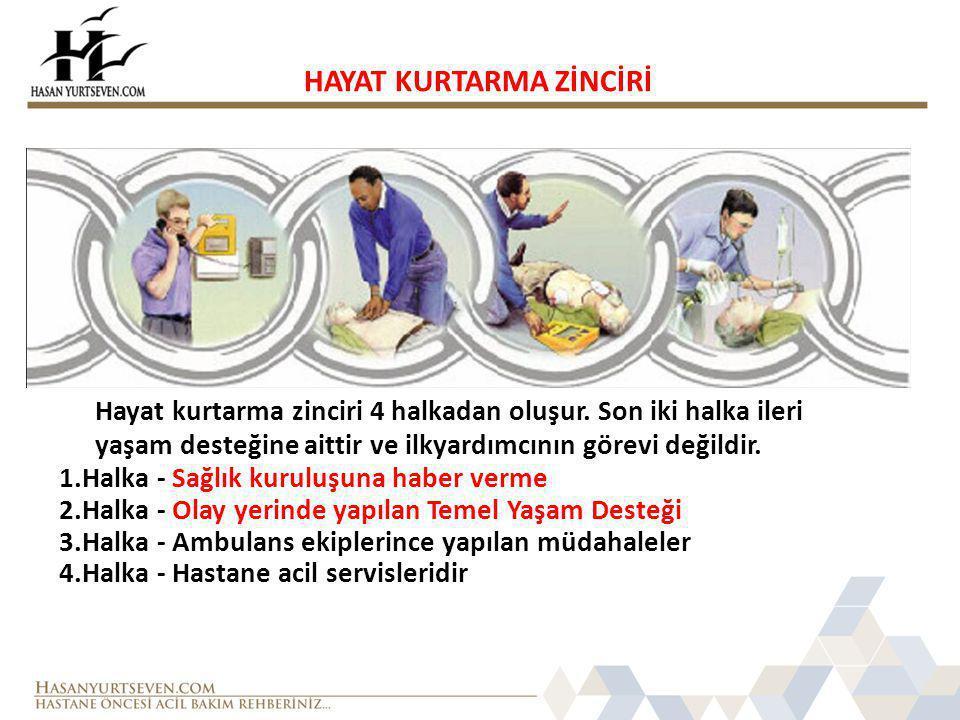 HAYAT KURTARMA ZİNCİRİ Hayat kurtarma zinciri 4 halkadan oluşur. Son iki halka ileri yaşam desteğine aittir ve ilkyardımcının görevi değildir. 1.Halka