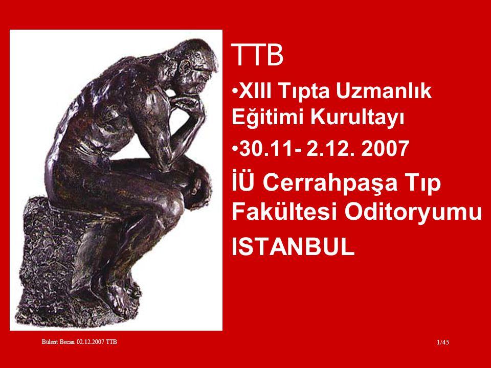 Bülent Becan 02.12.2007 TTB 1/45 TTB XIII Tıpta Uzmanlık Eğitimi Kurultayı 30.11- 2.12.