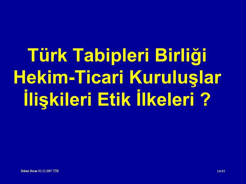 Bülent Becan 02.12.2007 TTB 14/45 Türk Tabipleri Birliği Hekim-Ticari Kuruluşlar İlişkileri Etik İlkeleri ?