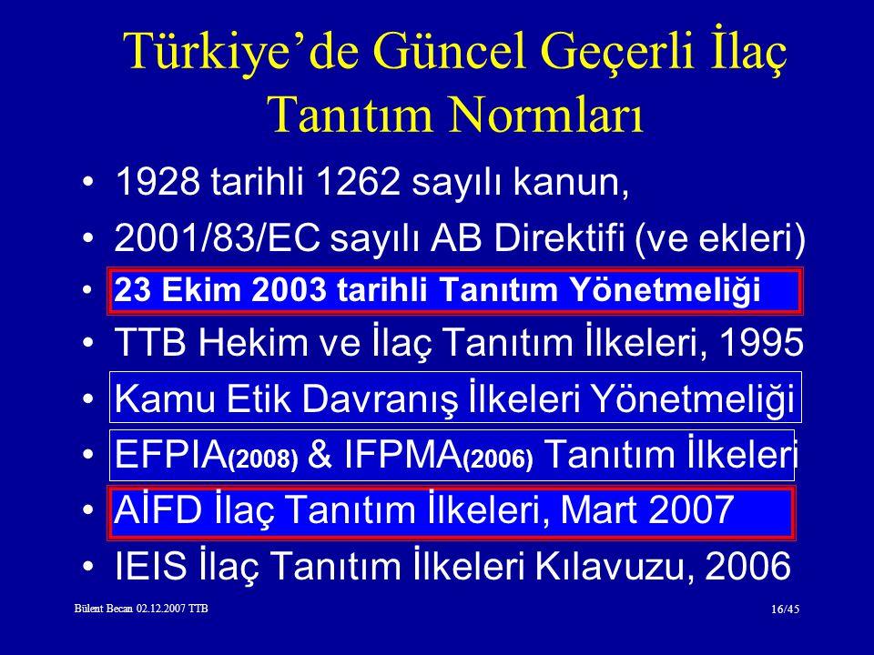 Bülent Becan 02.12.2007 TTB 16/45 1928 tarihli 1262 sayılı kanun, 2001/83/EC sayılı AB Direktifi (ve ekleri) 23 Ekim 2003 tarihli Tanıtım Yönetmeliği TTB Hekim ve İlaç Tanıtım İlkeleri, 1995 Kamu Etik Davranış İlkeleri Yönetmeliği EFPIA (2008) & IFPMA (2006) Tanıtım İlkeleri AİFD İlaç Tanıtım İlkeleri, Mart 2007 IEIS İlaç Tanıtım İlkeleri Kılavuzu, 2006 Türkiye'de Güncel Geçerli İlaç Tanıtım Normları