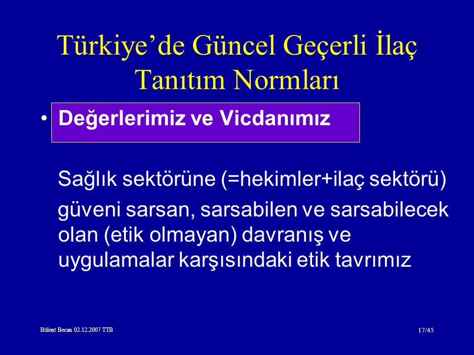 Bülent Becan 02.12.2007 TTB 17/45 Türkiye'de Güncel Geçerli İlaç Tanıtım Normları Değerlerimiz ve Vicdanımız Sağlık sektörüne (=hekimler+ilaç sektörü) güveni sarsan, sarsabilen ve sarsabilecek olan (etik olmayan) davranış ve uygulamalar karşısındaki etik tavrımız