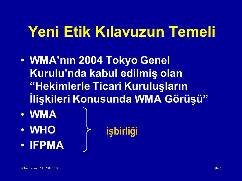 Bülent Becan 02.12.2007 TTB 9/45 Yeni Etik Kılavuzun Temeli WMA'nın 2004 Tokyo Genel Kurulu'nda kabul edilmiş olan Hekimlerle Ticari Kuruluşların İlişkileri Konusunda WMA Görüşü WMA WHO IFPMA işbirliği